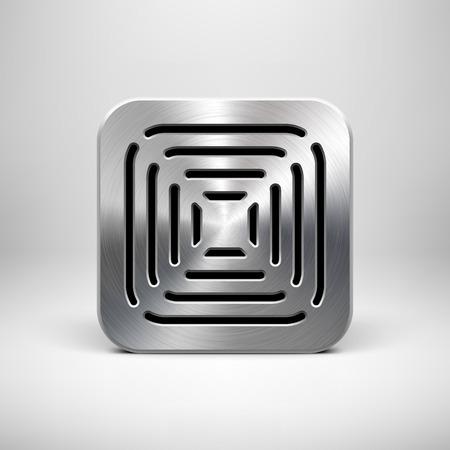 Resumen icono de la aplicaci�n de tecnolog�a, plantilla de botones con patr�n cuadrado altavoz parrilla perforada, la textura de metal (acero, cromo), sombra realista y la luz de fondo para las interfaces (UI) y las aplicaciones (apps). Vectores
