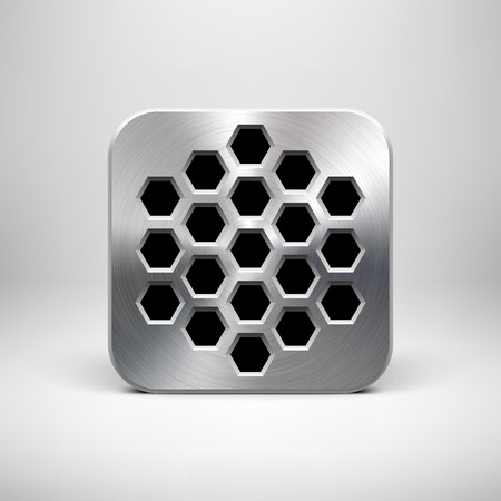 Abstract technology app icon, button template with polygon cell perforated speaker grill pattern, metal texture (chrome), realistic shadow and light background for interfaces (UI) and applications (apps).