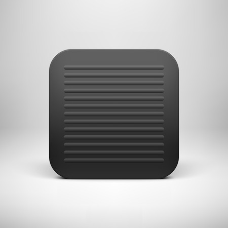 Black abstract technology app icon, button template with square perforated speaker grill pattern, realistic shadow and light background for user interfaces, UI, applications, apps, and presentations. Vector