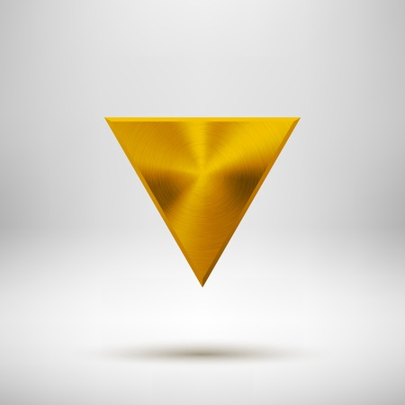 Gold abstract technology triangle badge, blank button template with metal texture (chrome, silver, steel), realistic shadow and light background for web user interfaces, UI, applications, apps. Vector  イラスト・ベクター素材