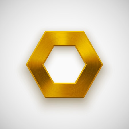 Gold abstract technology polygon, hex badge, blank button template with metal texture (chrome, silver, steel), realistic shadow and light background for user interfaces, UI, applications, apps. Vector