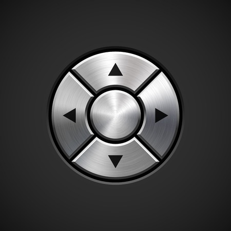Abstract technology joystick button template arrows, realistic metal texture, chrome, silver, steel and dark background for internet sites, web user interfaces, UI and applications, apps. Vector. Vector