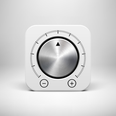 White abstract technology app icon, button template with music volume knob, metal texture (steel, chrome, silver), realistic shadow and light background for user interfaces, UI, applications, apps and presentations. Vector