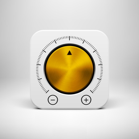 White abstract technology app icon, button template with music volume knob, gold metal texture (steel, chrome), realistic shadow and light background for user interfaces, UI, applications, apps and presentations.