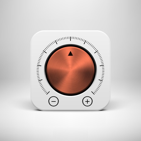 White abstract technology app icon, button template with music volume knob, bronze metal texture (steel, chrome, copper), realistic shadow and light background for user interfaces, UI, applications, apps and presentations. Vector
