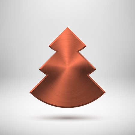 sign blank: Bronze abstract Christmas tree sign, blank button template with metal texture (chrome, silver, steel, copper), realistic shadow and light background for user interfaces, UI, applications and apps. Vector illustration