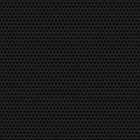 Negro fondo abstracto con la tecnología círculo sin fisuras altavoz perforada textura parrilla para sitios web, interfaces de usuario, interfaz de usuario, aplicaciones, aplicaciones y presentaciones de negocios. Ilustración del vector.