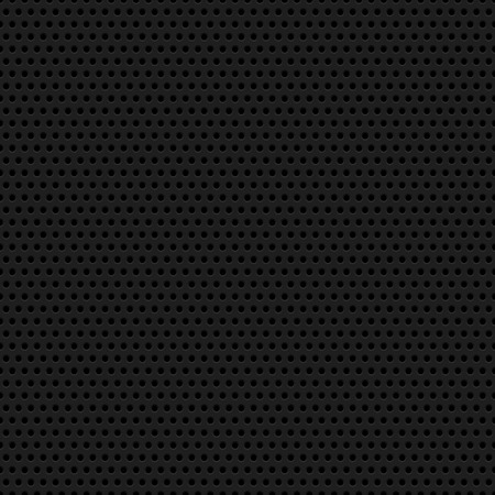 Black abstract technology background with seamless circle perforated speaker grill texture for web sites, user interfaces, UI, applications, apps and business presentations. Vector illustration. Illustration
