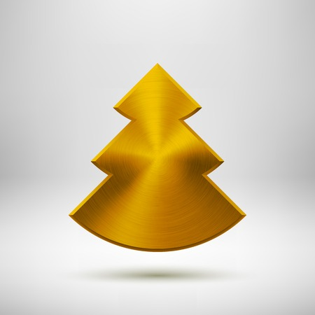 sign blank: Gold abstract Christmas tree sign, blank button template with metal texture