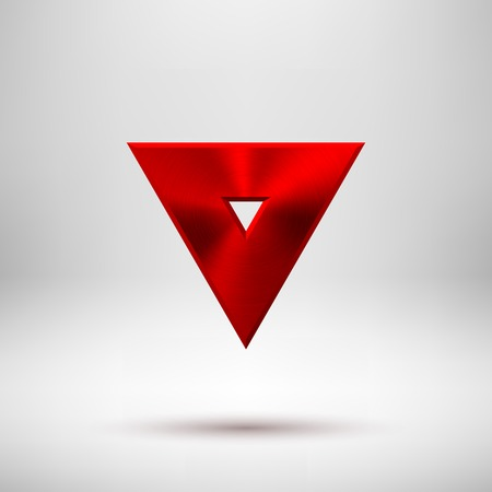 titan: Red abstract technology triangle badge, blank button template with metal texture (chrome, silver, steel), realistic shadow and light background for web user interfaces, UI, applications, apps. Vector