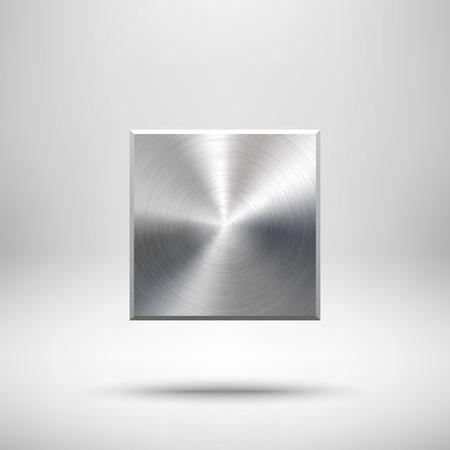 抽象的な正方形のバッジ、金属の質感 (クロム、銀、鋼) と空白のボタン テンプレート web ユーザー インターフェイス、UI、アプリケーション、アプ  イラスト・ベクター素材