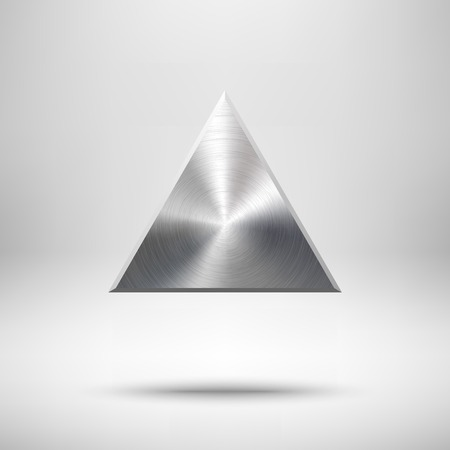 blank button: Abstract triangle badge, blank button template with metal texture (chrome, silver, steel), realistic shadow and light background for web user interfaces, UI, applications and apps. Vector illustration