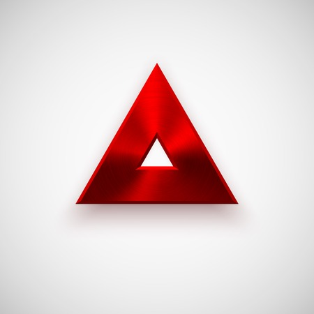 triangle button: Red abstract technology triangle badge, blank button template with metal texture (chrome, silver, steel), realistic shadow and light background for web user interfaces, UI, applications, apps. Vector