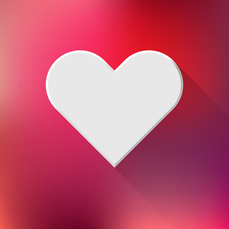 White abstract Valentines heart sign, blank button template with flat designed shadow and red gradient background for web sites, user interfaces, UI and applications, apps. Vector illustration. Illustration