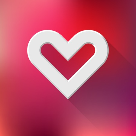sign blank: White abstract Valentines heart sign, blank button template with flat designed shadow and red gradient background for web sites, user interfaces, UI and applications, apps. Vector illustration. Illustration