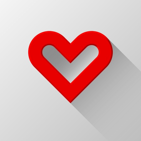 sign blank: Red abstract Valentines heart sign, blank button template with flat designed shadow and light background for internet sites, web user interfaces, UI and applications, apps. Flat design. Vector.