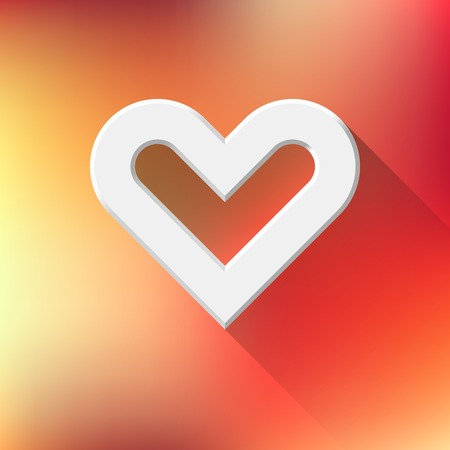 blank button: White abstract Valentines heart sign, blank button template with flat designed shadow and orange gradient background for web sites, user interfaces, UI and applications, apps. Vector illustration.