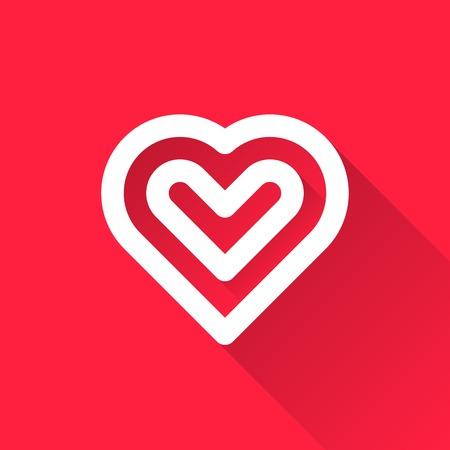 sign blank: White abstract Valentines heart sign, blank button template with light background for internet sites, web user interfaces, UI and applications, apps. Flat design. Vector illustration. Illustration