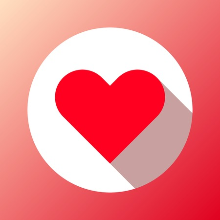 sign blank: Red abstract Valentines heart sign, blank button template with flat designed shadow and gradient background for internet sites, web user interfaces, ui and applications, apps. Vector illustration. Illustration