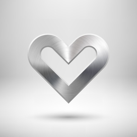 sign blank: Abstract Valentines heart sign, blank button template with metal texture (chrome, steel, silver), realistic shadow and light background for user interfaces, UI and  applications, apps.