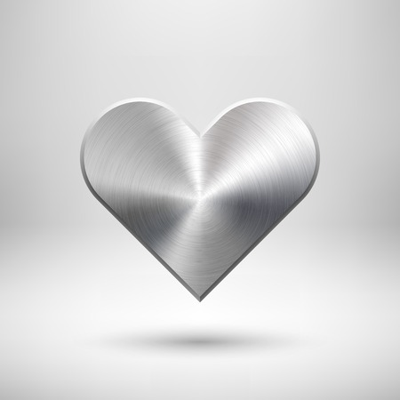 sign blank: Abstract Valentines heart sign, blank button template with metal texture (chrome, steel, silver), realistic shadow and light background. Vector illustration.