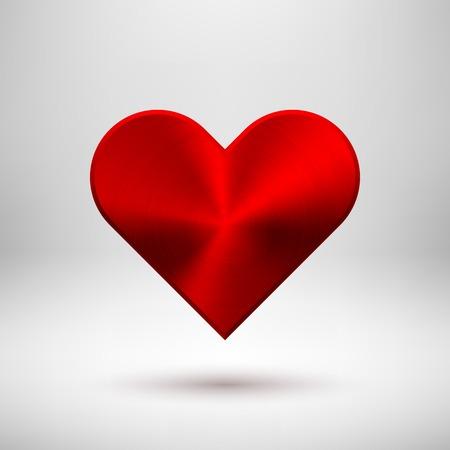 Abstracta de la muestra roja del coraz�n de San Valent�n, plantilla de botones en blanco con textura de metal (aleaci�n de cromo, acero, plata), sombra realista y fondo claro. Ilustraci�n del vector.