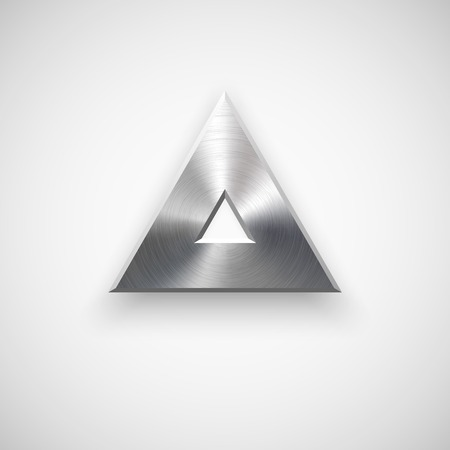 Abstract triangle badge, blank button template with metal texture