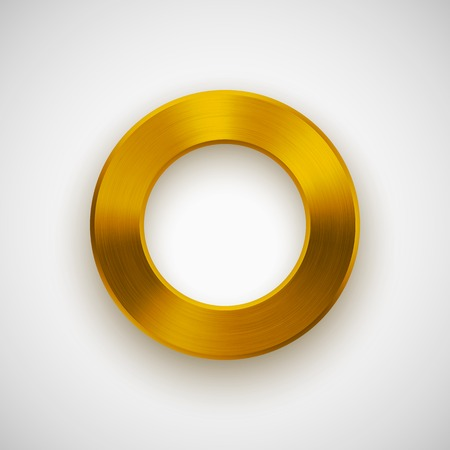 blank button: Gold abstract technology donut, ring badge, blank button template with metal texture