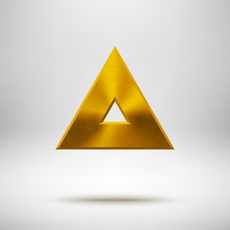 objects: Gold abstract technology triangle badge, blank button template with metal texture  Illustration