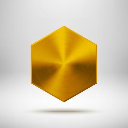 Gold abstract technology polygon, hex badge, blank button template with metal texture Ilustração