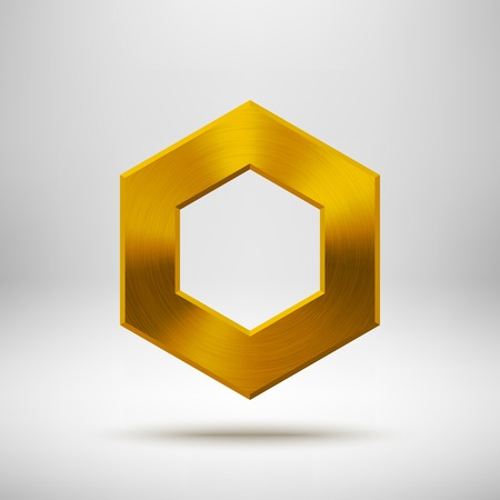 blank button: Gold abstract technology polygon, hex badge, blank button template with metal texture