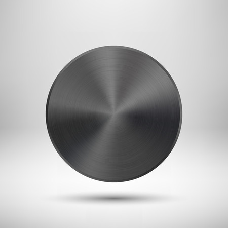 concentric circles: Black abstract technology circle button template with metal texture (chrome, steel, silver), realistic shadow and light background for web user interfaces (UI) and applications (apps).