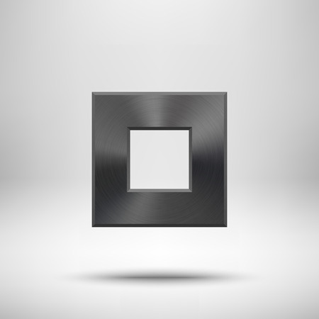 titan: Black abstract square badge, blank button template with metal texture (chrome, silver, steel), realistic shadow and light background for web user interfaces, UI, applications and apps. Vector illustration.