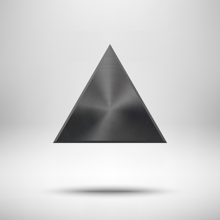 triangle button: Black abstract triangle badge, blank button template with metal texture (chrome, silver, steel), realistic shadow and light background for web user interfaces, UI, applications and apps. Vector illustration Illustration