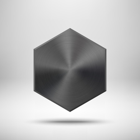 titan: Black abstract polygon, hex badge, blank button template with metal texture, chrome, silver, steel, realistic shadow and light background for user interfaces, UI, applications and apps. Vector illustration