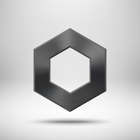 Black Abstract Polygon, Hex Badge, Blank Button Template With ...