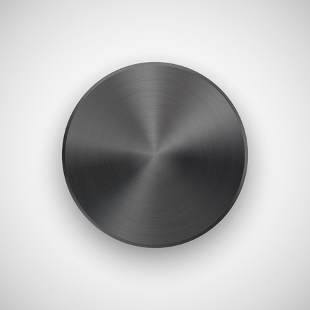 titan: Black abstract circle badge, technology blank button template with metal texture (chrome, steel), realistic shadow and light background for user interfaces, UI, applications, apps. Vector illustration