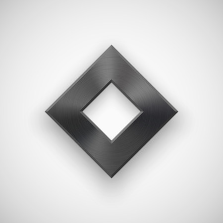 rhombic: Black abstract rhombic badge, technology blank button template with metal texture (chrome, steel), realistic shadow and light background for interfaces, UI, applications, apps. Vector illustration. Illustration