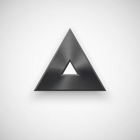 titan: Black abstract triangle badge, technology blank button template with metal texture (chrome, steel), realistic shadow and light background for interfaces, UI, applications, apps. Vector illustration.