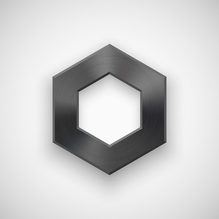 blank button: Black abstract polygon, hex badge, technology blank button template with metal texture (chrome, steel), realistic shadow and light background for interfaces, applications, apps. Vector illustration. Illustration