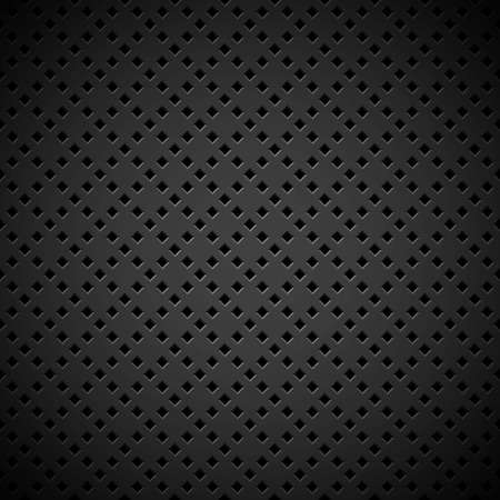 Black abstract technology background with seamless square perforated speaker grill texture for web, user interfaces, UI, applications, apps, business presentations and prints. Vector illustration. Illustration