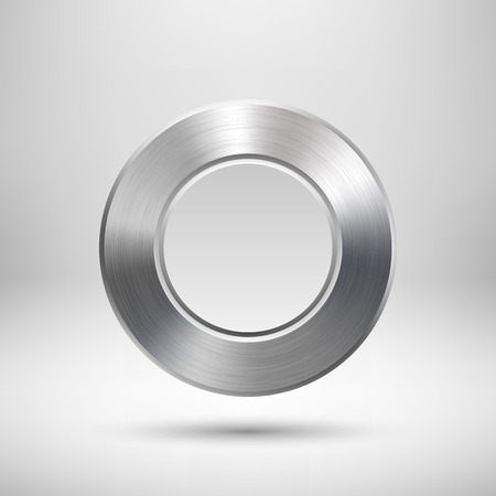 Abstract circle badge, blank button template with metal texture (chrome, silver, steel), realistic shadow and light background for web user interfaces, UI, applications and apps. Vector illustration. Ilustrace