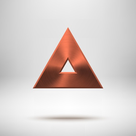 triangle button: Bronze abstract triangle badge, technology blank button template with metal texture (chrome, steel), realistic shadow and light background for interfaces, UI, applications, apps. Vector illustration. Illustration
