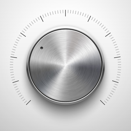 volume knob: Abstract technology button template, volume knob with metal texture (chrome, silver, steel), range scale, realistic shadow and light background for web, interfaces, UI, applications, apps. Vector.