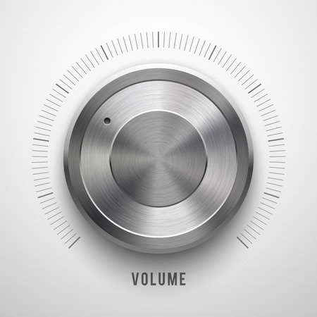 Abstract technology button template, volume knob with metal texture (chrome, silver, steel), range scale, realistic shadow and light background for web, interfaces, UI, applications, apps. Vector. Vector