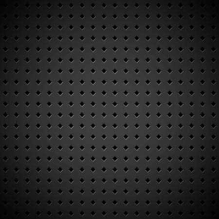 Black abstract technology background with seamless square perforated speaker grill texture for web, user interfaces, UI, applications, apps, business presentations and prints. Vector illustration. Vector