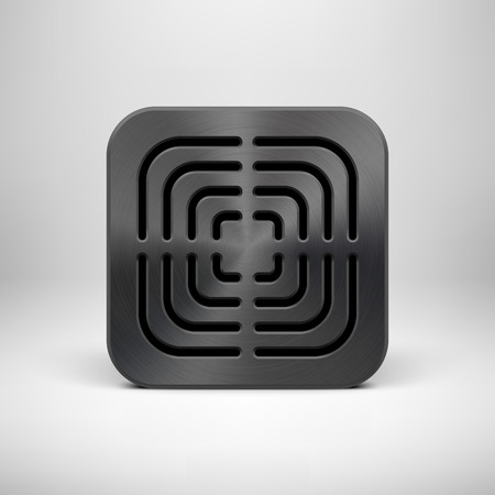 Black abstract technology app icon, button template with square perforated speaker grill, metal texture (chrome, steel), realistic shadow, light background for applications, apps. Vector illustration.