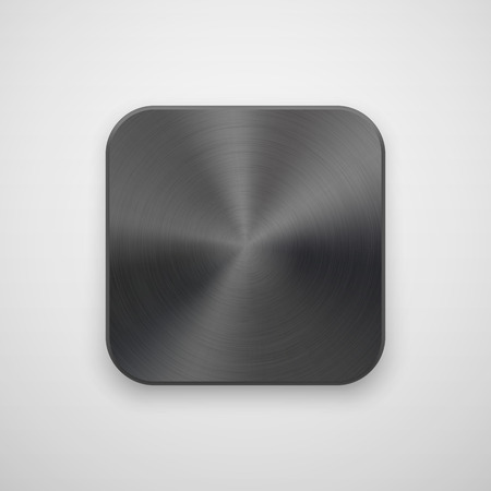 titan: Black abstract technology app icon, blank button template with metal texture (chrome, steel, silver), realistic shadow and light background for web, user interfaces, UI, applications, apps. Vector. Illustration