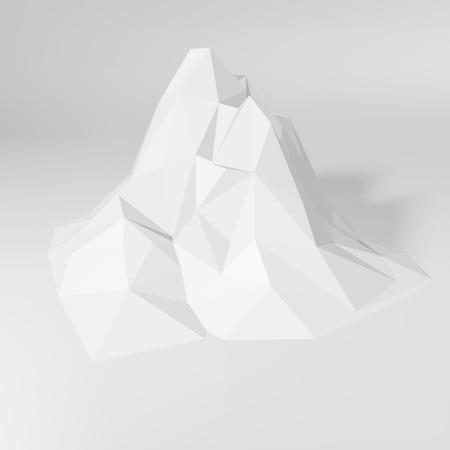 화이트 로우 폴리 기하학적 3D 산 풍경입니다. 벡터 일러스트 레이 션.