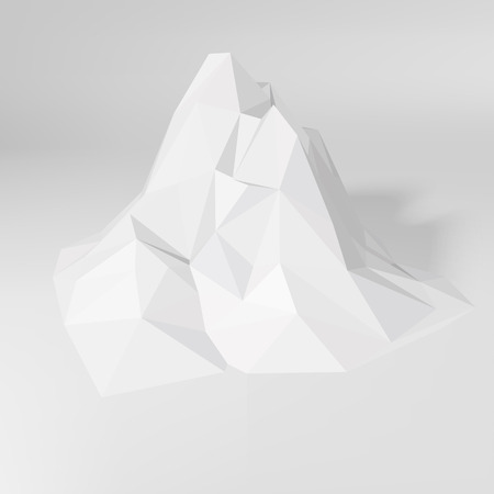 rendering: White low-poly geometric 3D mountain landscape. Vector illustration.